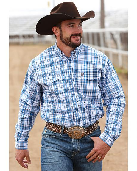 Cinch Men's Blue and White Plaid Double Pocket Western Shirt