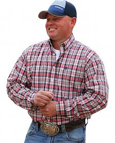 Cinch Men's Cream and Red Plaid Western Shirt