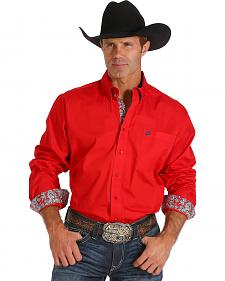 Cinch Men's Solid Red Contrast Western Shirt