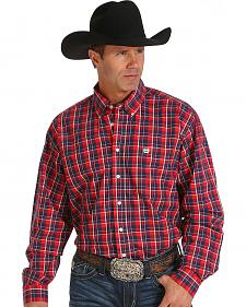 Cinch Men's Red and Navy Plaid Western Shirt