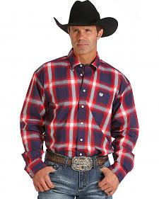 Cinch Men's Navy, Red and White Plaid Western Shirt
