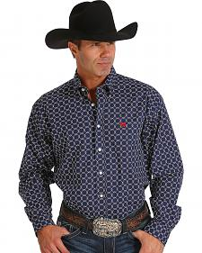 Cinch Men's Navy Diamond Print Western Shirt
