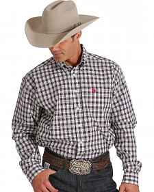 Cinch Men's Cream and Wine Plaid Western Shirt