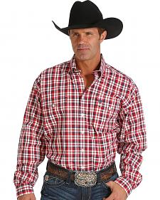 Cinch Men's Red Plaid Double Pocket Western Shirt