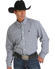 Cinch Men's Purple Plaid Double Pocket Western Shirt
