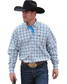 Cinch Men's Grey Plaid Long Sleeve Western Shirt