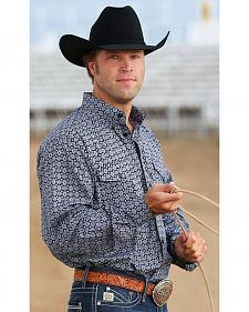 Cinch Men's Black and White Print Double Pocket Western Shirt