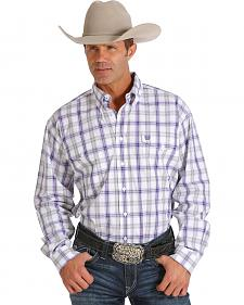 Cinch Men's Purple and White Plaid Double Pocket Western Shirt
