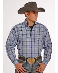 Tuf Cooper Performance Blue and Black Plaid Poplin Western Shirt