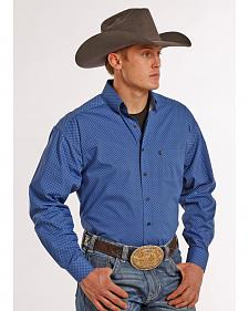 Tuf Cooper Performance Blue and Black Poplin Print Western Shirt