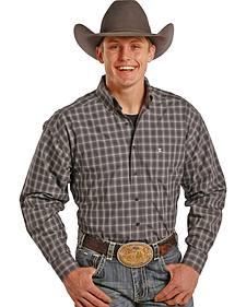 Tuf Cooper Performance Grey Plaid Poplin Western Shirt