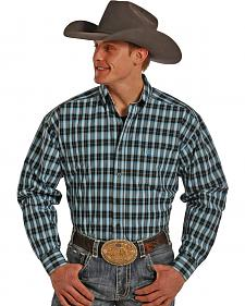 Tuf Cooper Performance Teal and Black Plaid Western Shirt