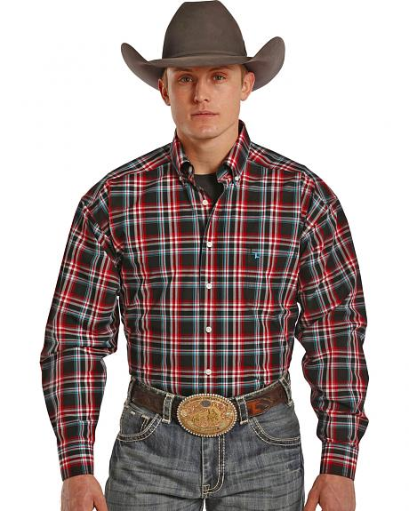 Tuf Cooper Performance Red, Teal and Grey Plaid Western Shirt