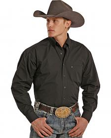 Tuf Cooper Performance Black Poplin Western Shirt