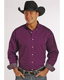 Panhandle Slim Men's Purple Poplin Print Western Shirt