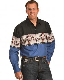 Ely Cumberland Outfitters Khaki Blue & Black Border Western Shirt