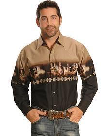 Ely Cumberland Outfitters Khaki Black Horse Border Western Shirt