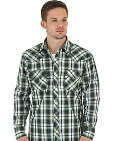 Wrangler 20X Men's Olive & White Plaid Shirt