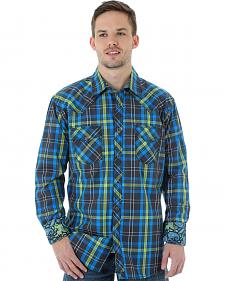 Wrangler 20X Men's Blue & Lime Plaid Shirt