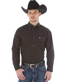 Wrangler 20X Men's Black & Gold Dot Button Shirt