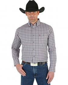 Wrangler George Strait Men's White Wine Plaid Shirt