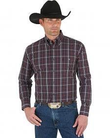 Wrangler George Strait Men's Navy Plaid Shirt