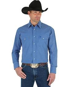 Wrangler George Strait Men's Blue Print Shirt