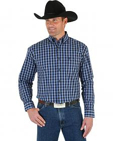 Wrangler George Strait Men's Blue & Black Plaid Shirt