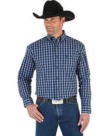 Wrangler George Strait Men's Blue & Black Plaid Shirt
