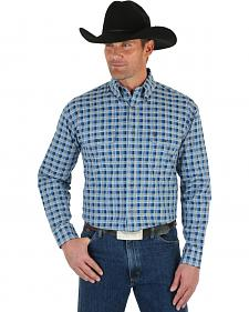 Wrangler George Strait Men's Blue & White Plaid Shirt