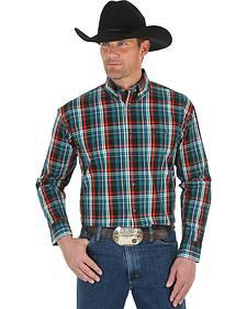 Wrangler George Strait Men's Emerald Plaid Shirt