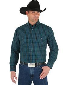 Wrangler George Strait Men's Black & Emerald Plaid Shirt