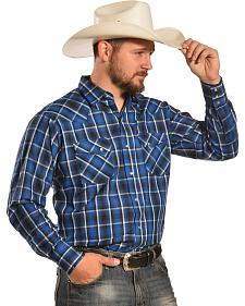 Ely Men's Navy and Black Plaid Western Shirt