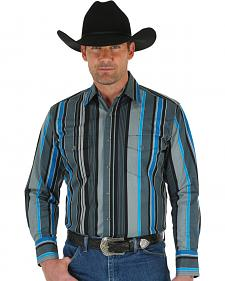 Wrangler Men's Brushpopper Turquoise & Grey Stripe Shirt