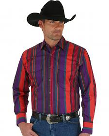 Wrangler Men's Brushpopper Red & Purple Stripe Shirt