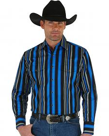 Wrangler Men's Brushpopper Black & Blue Stripe Shirt