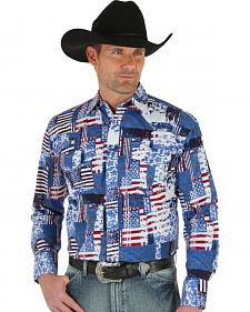 Wrangler Men's American Flag Checotah Western Shirt