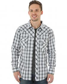 Wrangler Men's Black & White Plaid Western Jean Shirt