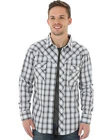 Wrangler Men's Black & White Plaid Western Jean Shirt