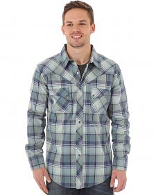 Wrangler Men's Blue Plaid Western Jean Shirt