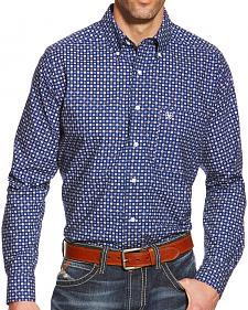 Ariat Men's Blue Turner Print Poplin Western Shirt