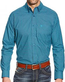 Ariat Men's Teal Woodrow Print Poplin Western Shirt