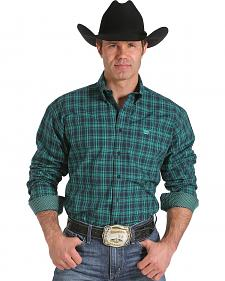 Cinch Men's Green Plaid Contrast Print Western Shirt