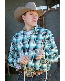 Cinch Men's Teal and Cream Plaid Western Shirt