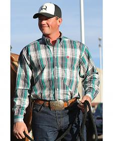 Cinch Men's Green and Grey Plaid Contrast Western Shirt