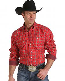 Cinch Men's Red and Black Plaid Contrast Western Shirt