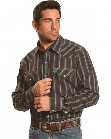 Garth Brooks Sevens by Cinch Men's Brown Dobby Stripe Western Shirt