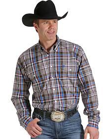 Cinch Men's Tan, Wine and Blue Plaid Double Pocket Western Shirt
