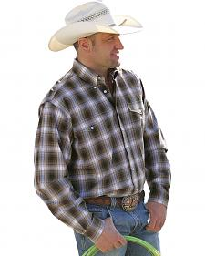 Cinch Men's Brown Plaid Double Pocket Western Shirt