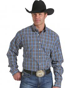 Cinch Men's Blue and Brown Plaid Western Shirt